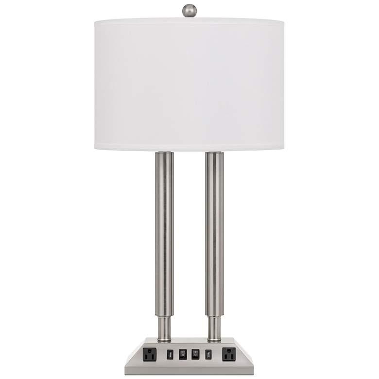 Carver Brushed Steel Metal Hotel Desk Lamp with USB Ports