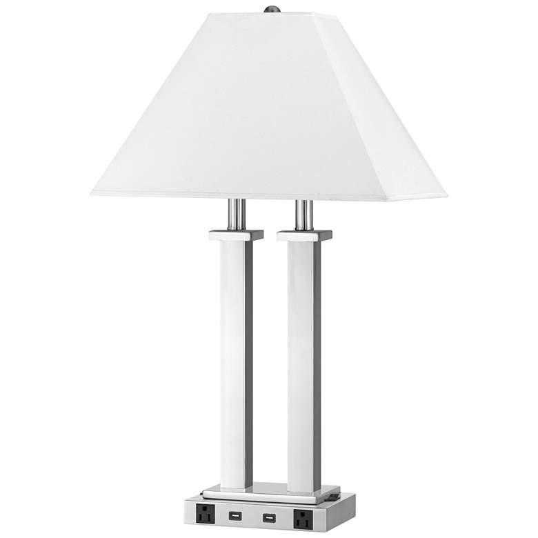 Maxim Double Light Brushed Steel Metal Desk Lamp w/ USB Port