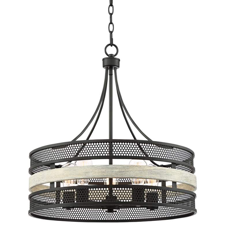 "McGraw 22"" Wide Black and Gray Wood 5-Light Pendant"