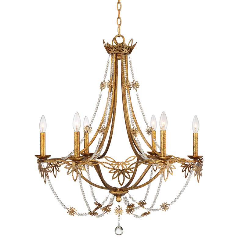 "Kathy Ireland Sarai 28 1/4""W 6-Light Antique Gold Chandelier"