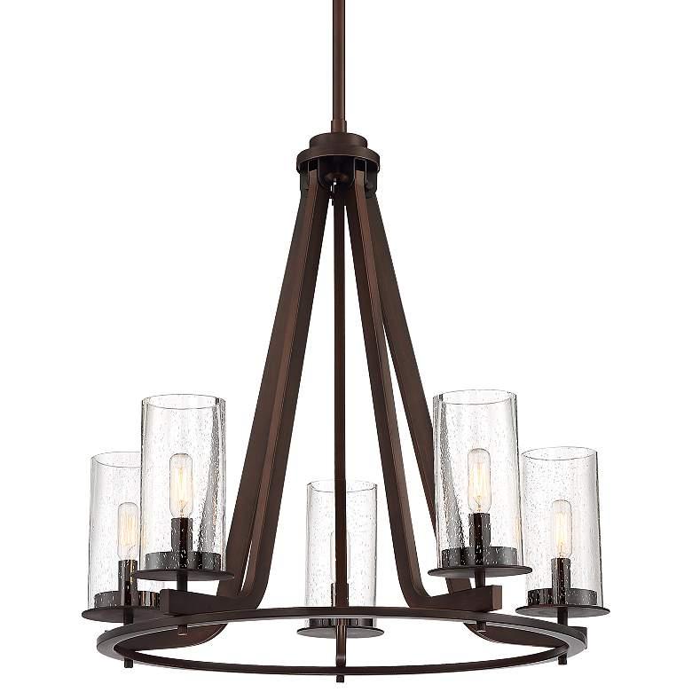 """Denver 25 1/2"""" Wide 5-Light Industrial Bronze Chandelier"""