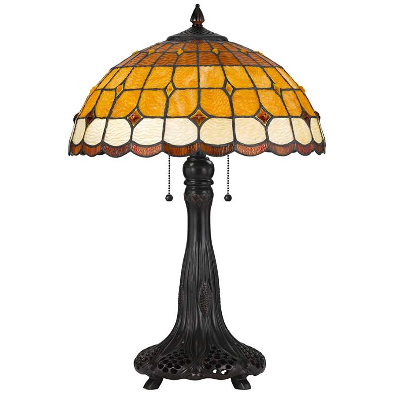 Merriweather Tiffany-Style Glass Shade Table Lamp with Pull Chain Switches