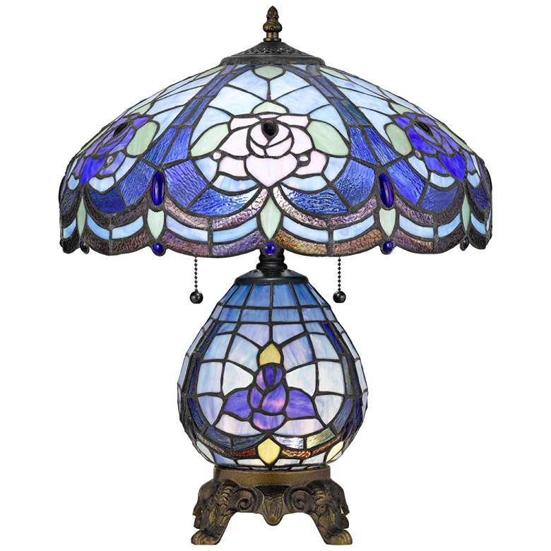 Cobalt Tiffany-Style Table Lamp with Night Light