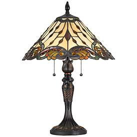 William Tiffany Style Table Lamp With Pull Chain Switch