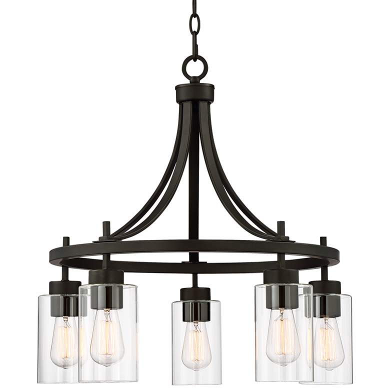"""Caleb 23 3/4"""" Wide Bronze and Glass 5-Light Chandelier"""
