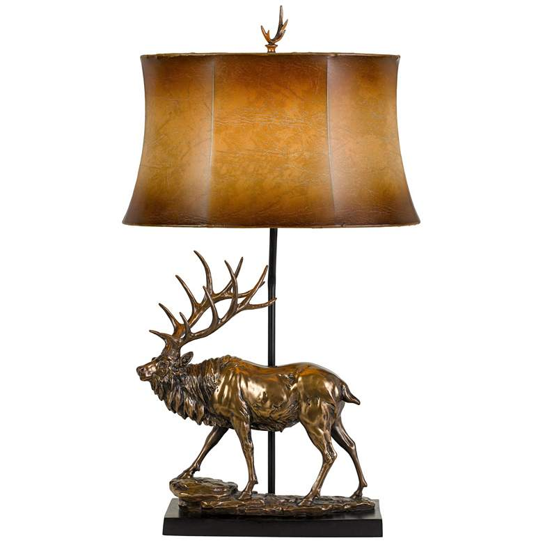 Deer Antique Bronze Table Lamp with Leatherette Shade