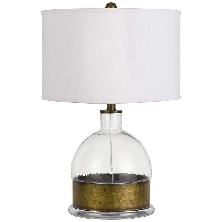 Rapallo Clear Glass Table Lamp with Antique Brass Accents