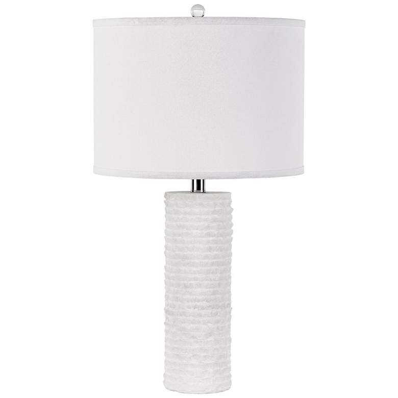 Granite Stone Snowy White Stacked Tower Table Lamp