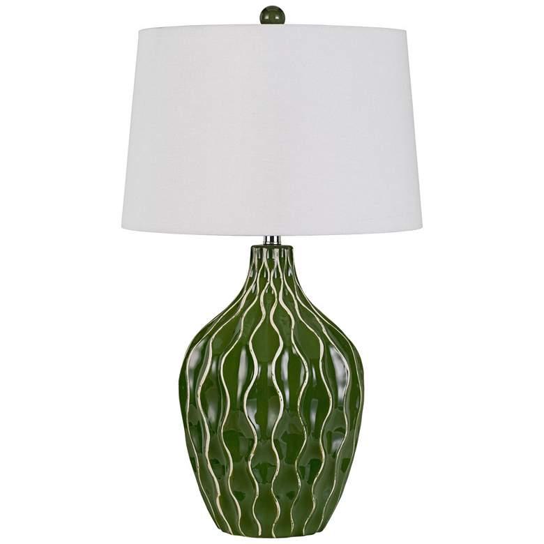 Andria Green Grass Wave Ceramic Pot Table Lamp
