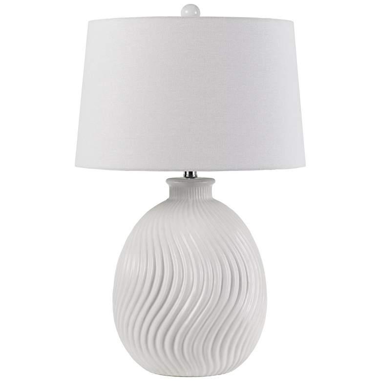 Olbia Milky White S-Wave Ceramic Pot Table Lamp