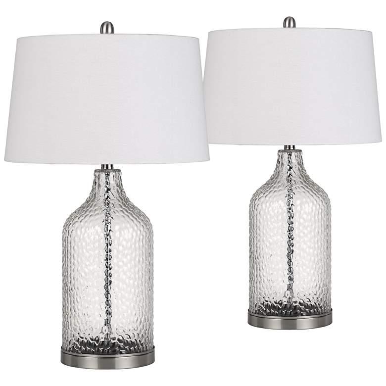 Rimini Clear Glass Raindrop Pattern Jar Table Lamps Set of 2