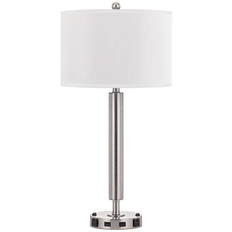 Carver Double Light Brushed Steel Usb Hotel Table Lamp 63k76