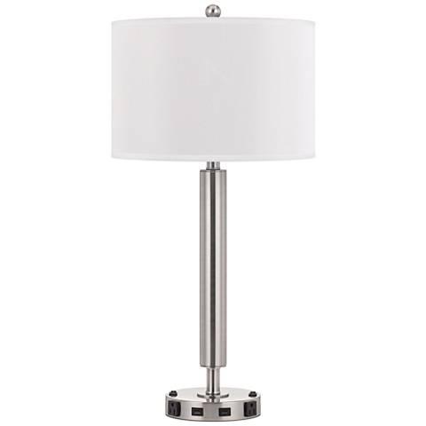 Carver Double Light Brushed Steel Usb Hotel Table Lamp 63k76