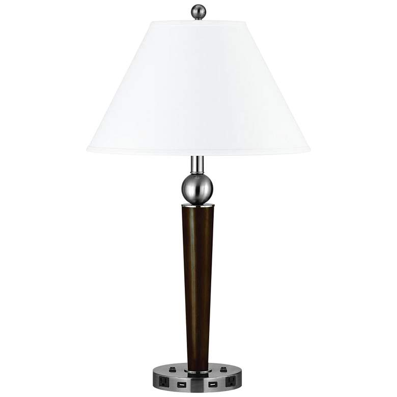 Morely Double Light Espresso Metal USB Nightstand Table Lamp