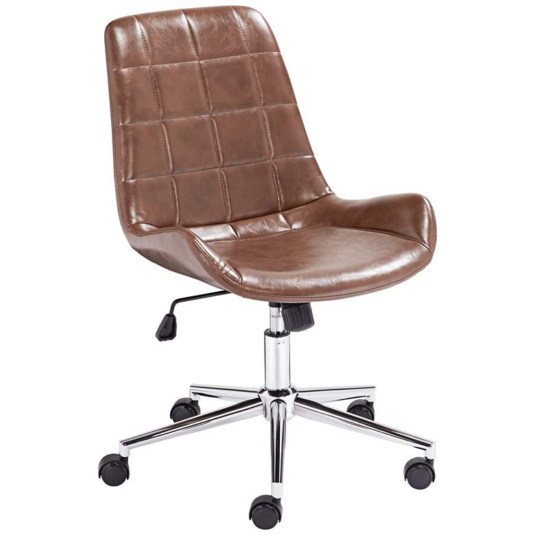 Daniel Brown Faux Leather Adjustable Office Chair