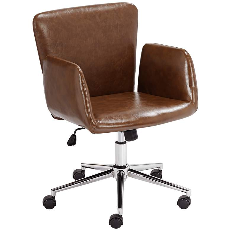 Megan Brown Faux Leather Swivel Office Chair