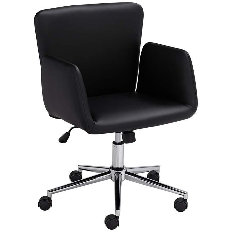 Megan Black Faux Leather Swivel Office Chair