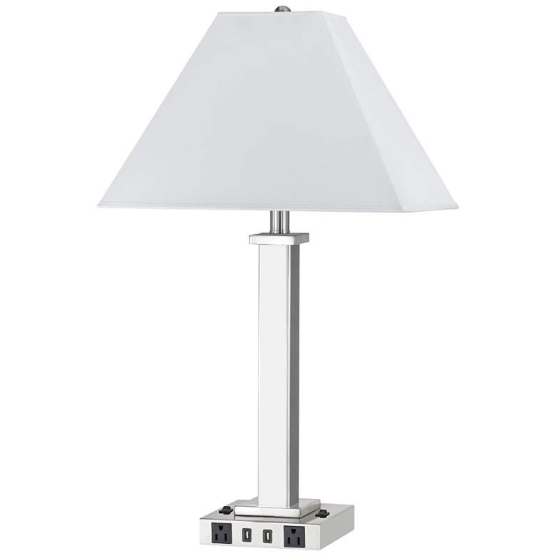 Maxim Double Light Brushed Steel USB Nightstand Table Lamp