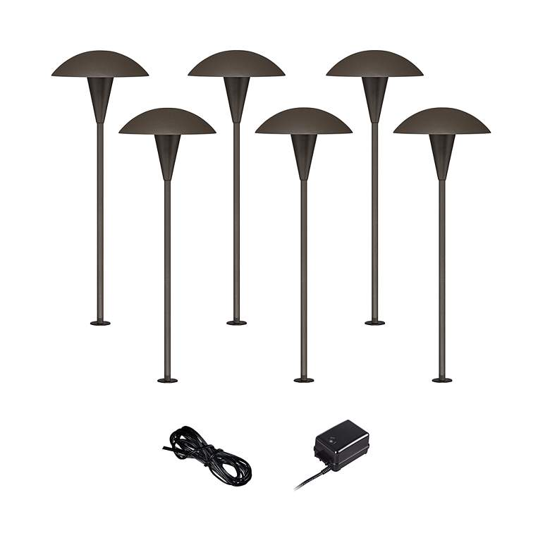 Mushroom Bronze 8-Piece Outdoor LED Landscape Lighting Set