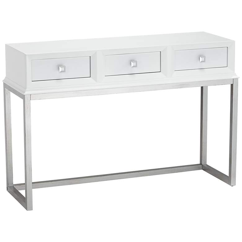 """Melissa 48"""" Wide White 3-Drawer Modern Desk or Console Table"""