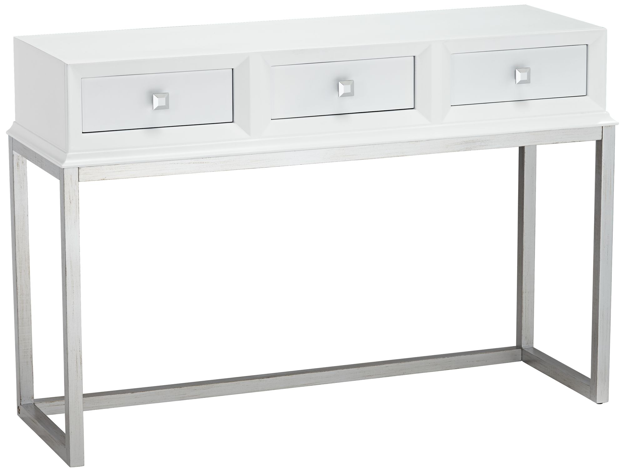 Melissa 48u0026quot; Wide White 3 Drawer Modern Desk Or Console Table