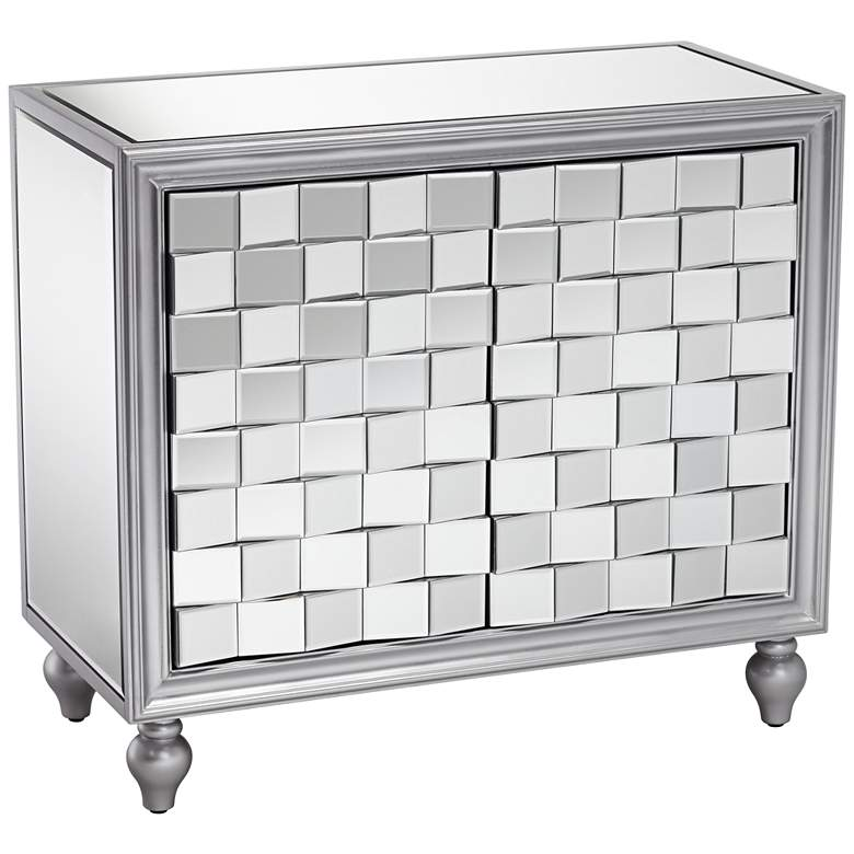 "Briana 35"" Wide 2-Door Silver Mirrored Accent Cabinet"