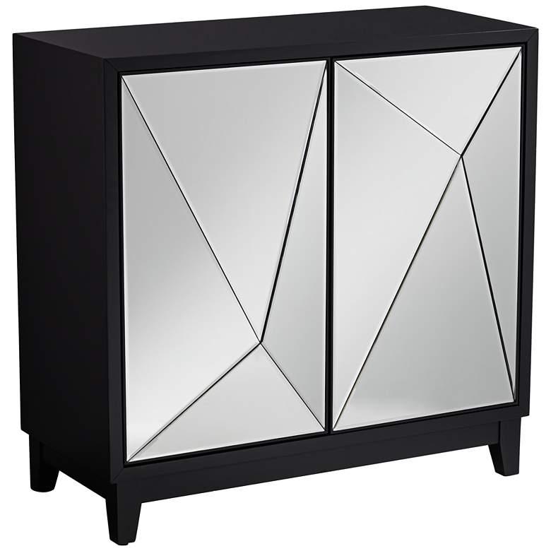 """Bradley 36"""" 2-Door Black Mirrored Cabinet by Studio 55D"""