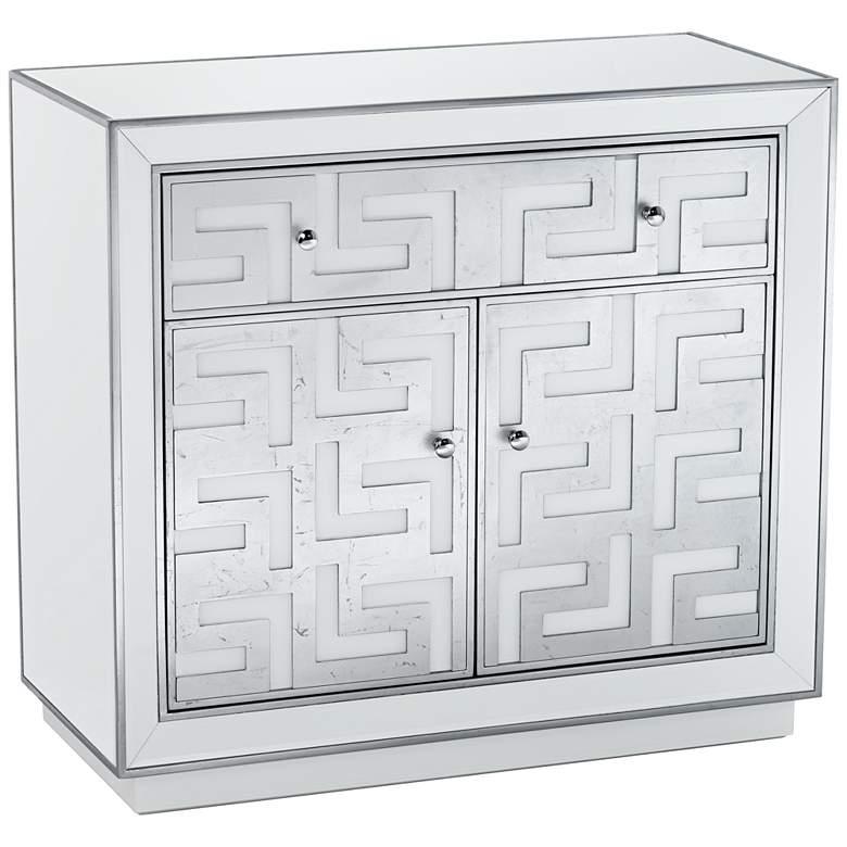 "Bodrum 35"" Wide 1-Drawer 2-Door Antique Silver Cabinet"