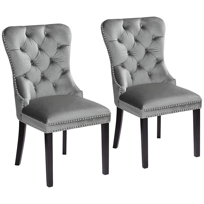Annabelle Tufted Gray Velvet Dining Chairs Set of 2