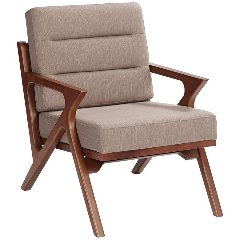 Moderno Walnut and Light Brown Modern Accent Chair