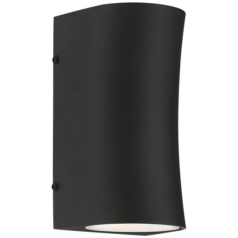 "Fusion 8"" High Textured Black LED Outdoor Wall Light"