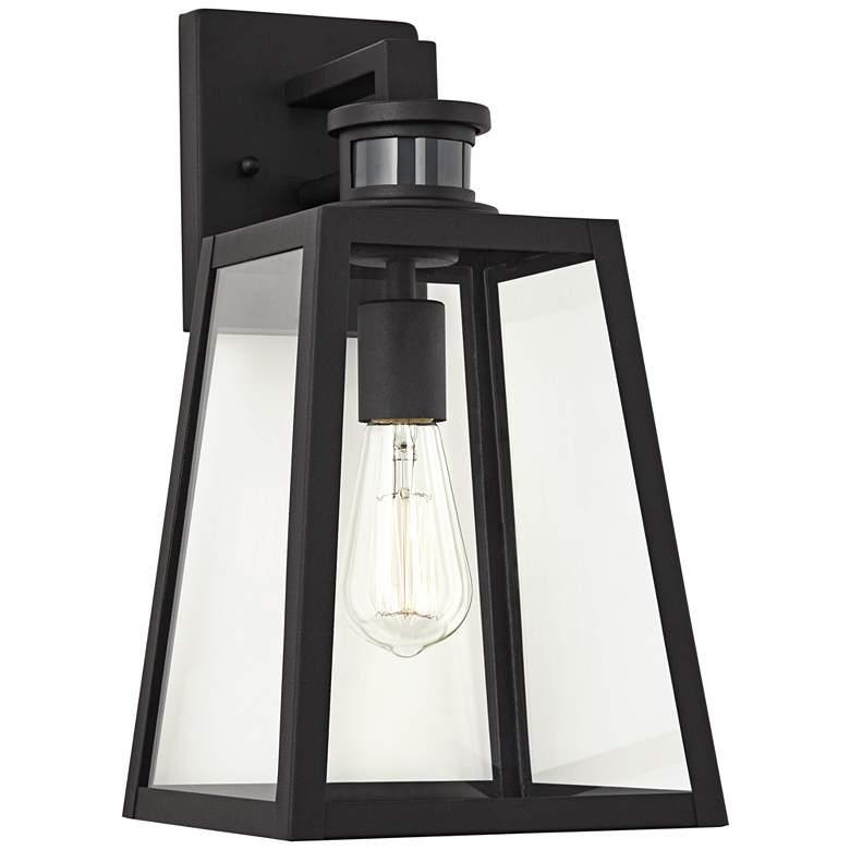 "Arrington 14 3/4"" H Black Motion Sensor Outdoor Wall Light"