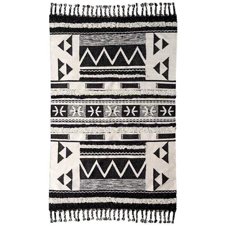 Artesia Kilim Shag 2'x3' Ivory and Black Area Rug