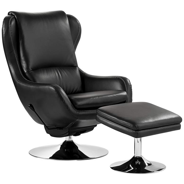 Baxter Black Faux Leather Recliner and Ottoman