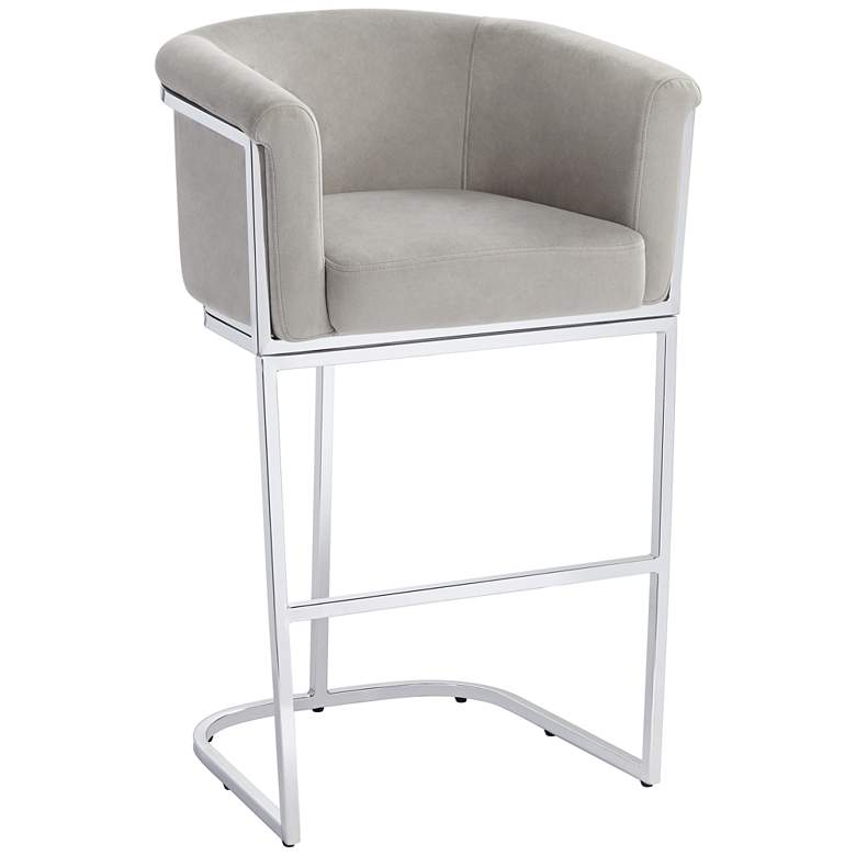 "Reign 31"" Gray Velvet and Chrome Barstool"