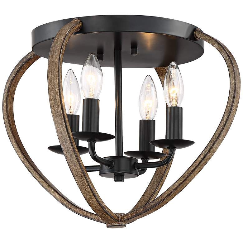 """Budding Bulb 16"""" Wide Bronze-Wood Finish Cage Ceiling Light"""