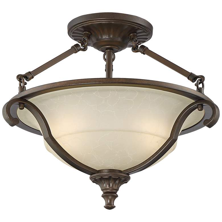 "Fitzgerald 16 3/4"" Wide Heritage Bronze Ceiling Light"