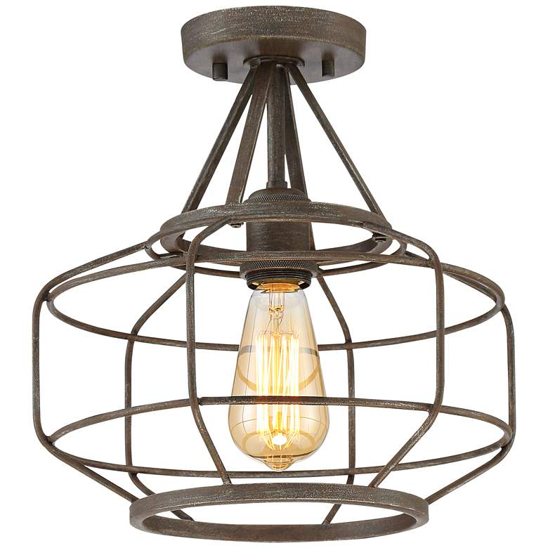 "Brady 12"" Wide Bronze Open Cage Drum Ceiling Light"