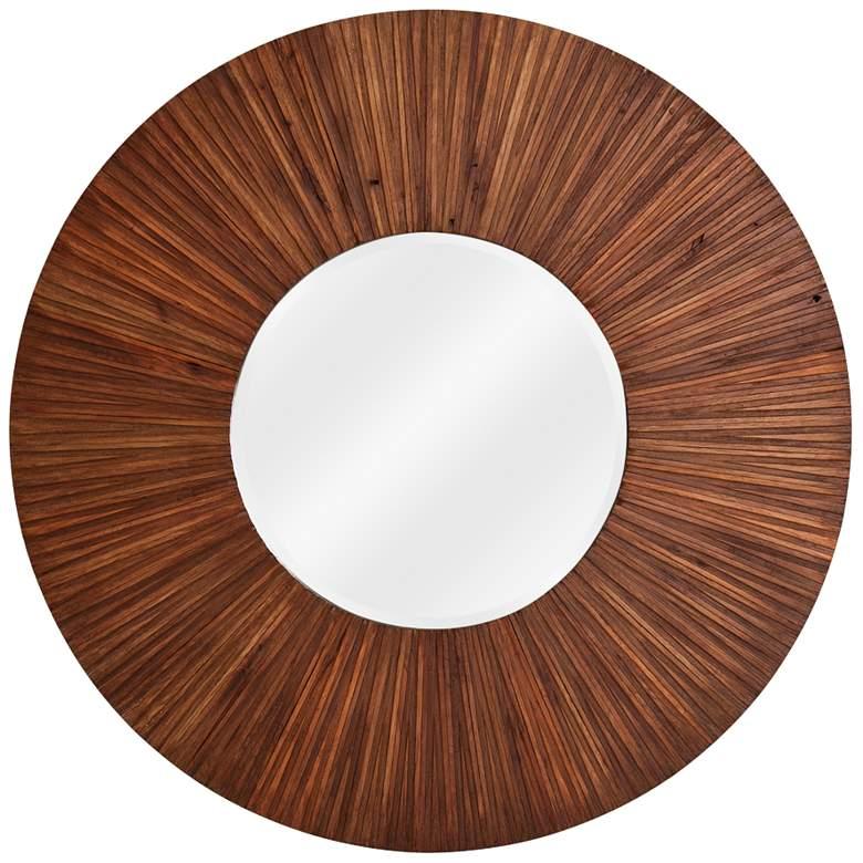 """Howard Elliott Walden Walnut Wood Plank 36"""" Round Mirror"""