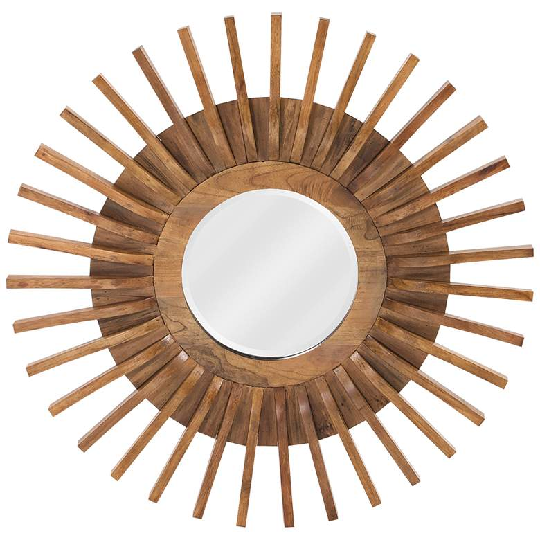 """Howard Elliott Carver Wooden 36"""" Sunburst Wall Mirror"""