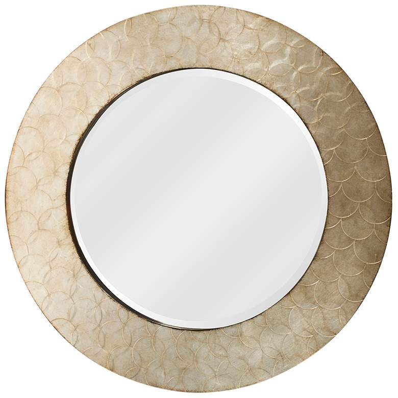 """Camelot Champagne Silver Wood 36"""" Round Wall Mirror"""