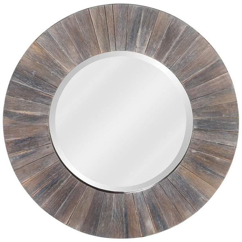 "Howard Elliott Henley Dark Rustic Wood 18"" Round Wall Mirror"