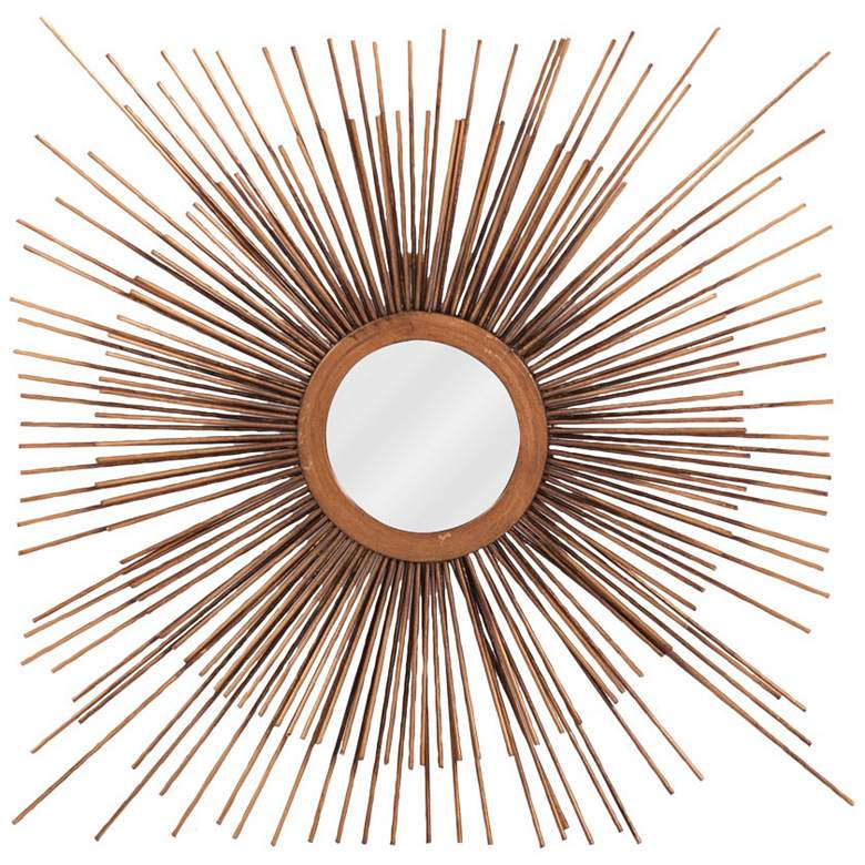 "Howard Elliott Aster Copper Star Burst 16"" Round Wall Mirror"