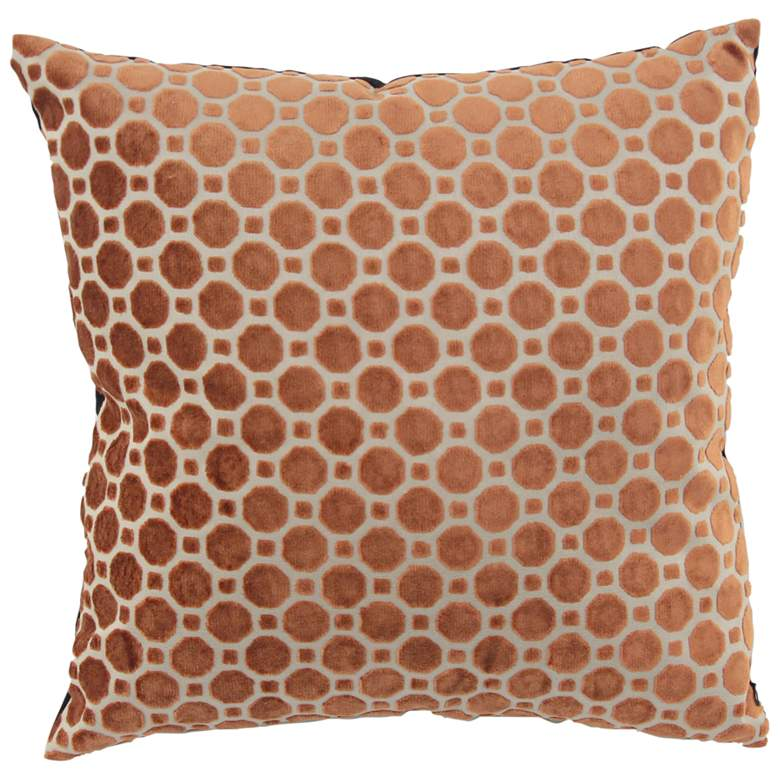 """Brown and White Fabric 18"""" Square Decorative Pillow"""