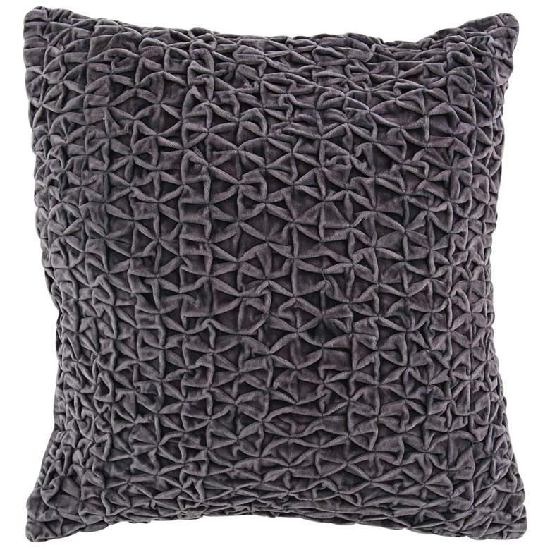 "Gray Cotton Velvet 20"" Square Decorative Pillow"