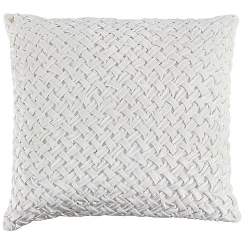 "White Cotton Velvet 20"" Square Decorative Pillow"