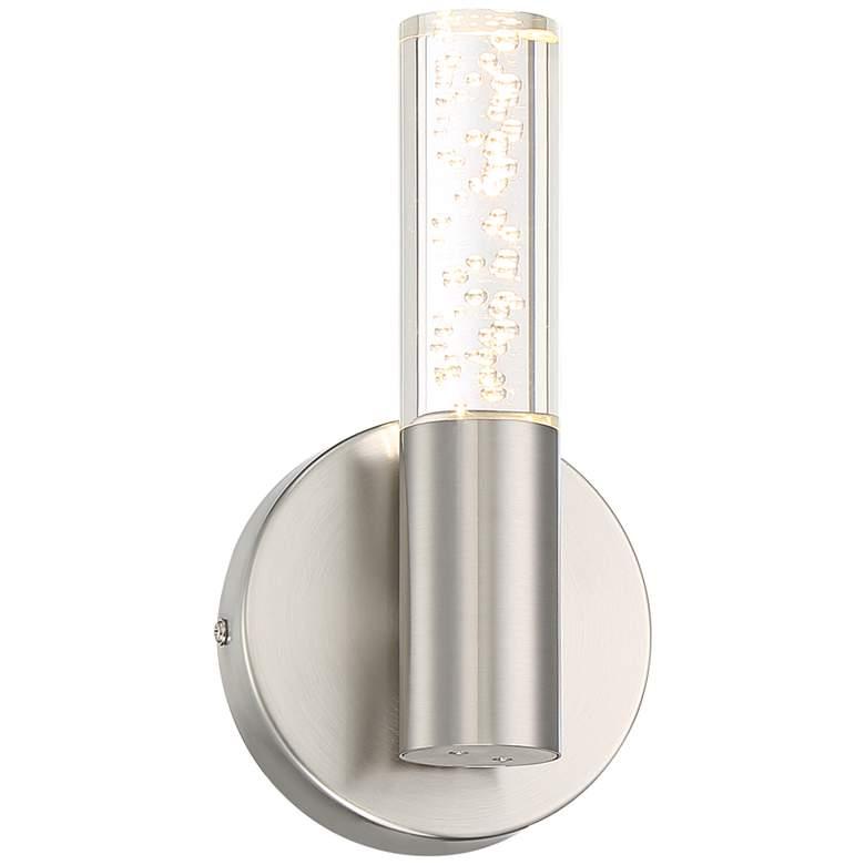 """Natalya Bubble Acrylic Tube 9""""H Brushed Nickel LED Sconce"""