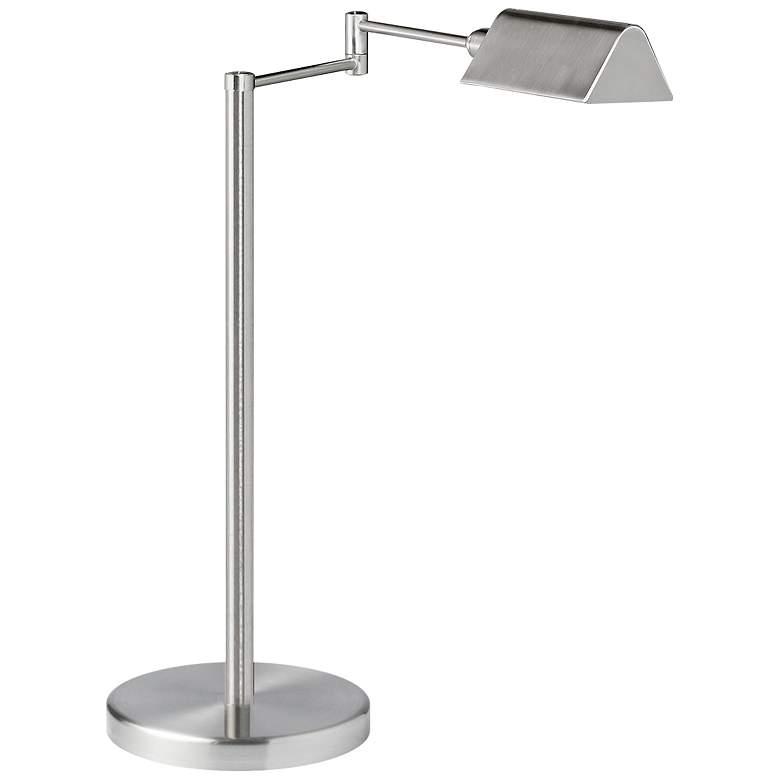 Skylar Satin Nickel Metal Swing Arm LED Desk Lamp