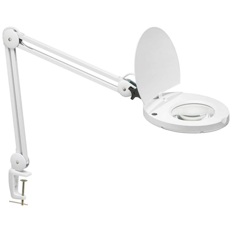 Sorenson LED Clamp On Desk Lamp with Magnifier in White