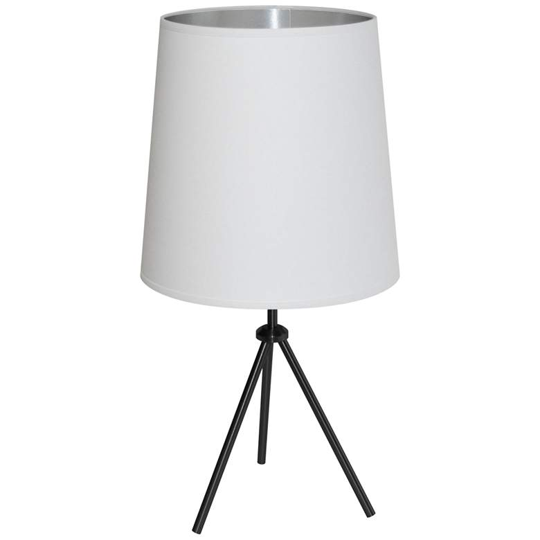 """Finesse 28 1/2"""" High Black Table Lamp with White-Silver Shade"""